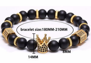 Micro Pave Black Crown Charm Bracelet
