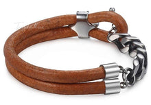 Load image into Gallery viewer, Leather and Cuban Link Stainless Steel Bracelet