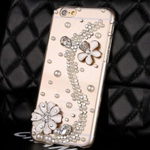 Load image into Gallery viewer, Rhinestone & Pearls Clear iPhone Case