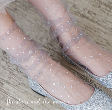 Load image into Gallery viewer, Transparent Tulle Socks -Glitter Stars & Moon