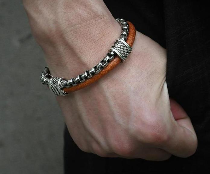 Leather & Stainless Steel Link Bracelet