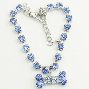 Crystal Rhinestone Bone Pendant Pet Necklace