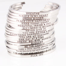 Load image into Gallery viewer, Silver Stainless Steel Bangle Hand Stamped Positive Inspirational Quote Bracelet
