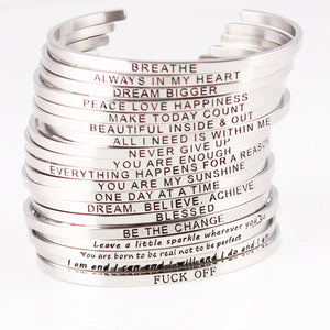 Silver Stainless Steel Bangle Hand Stamped Positive Inspirational Quote Bracelet
