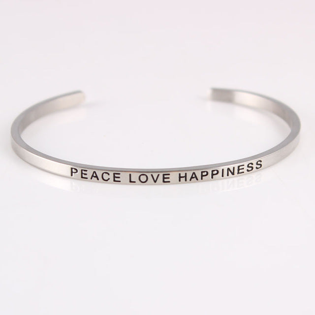 Silver Stainless Steel Hand Stamped Positive Inspirational Quote Bracelets