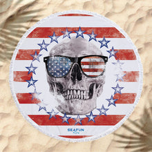 Load image into Gallery viewer, Round American Skull Beach Towel