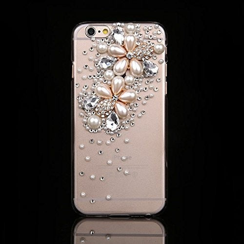 Rhinestone & Pearls Clear iPhone Case