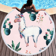 Load image into Gallery viewer, Llama Round Beach Towel