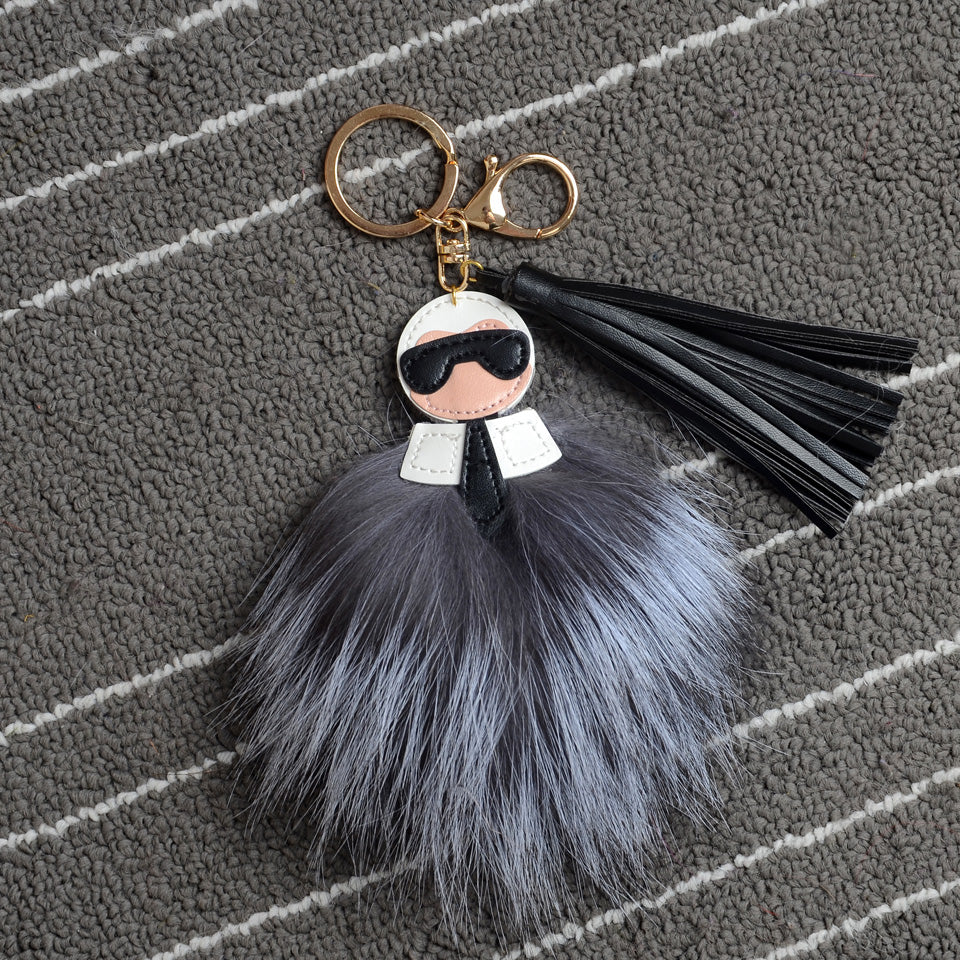 Karl The Silver Fox Fur Keychain Bag Charm
