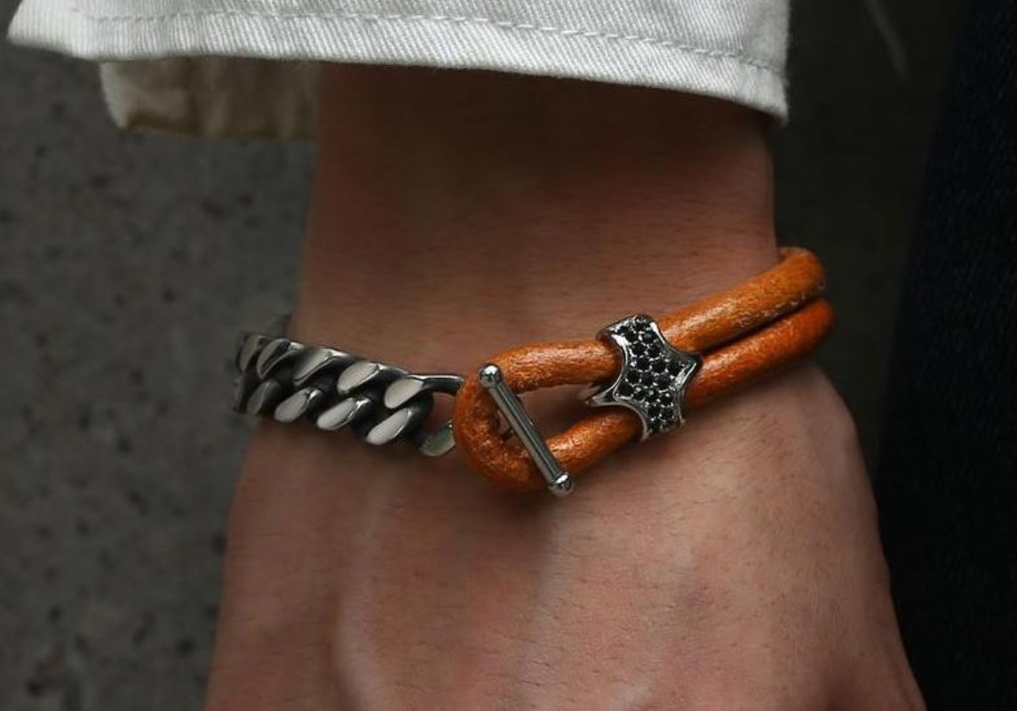 Leather and Cuban Link Stainless Steel Bracelet