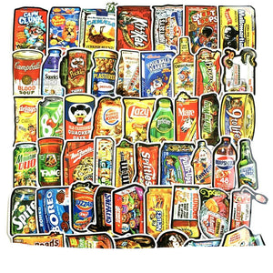 Graffiti Stickers - Spoof Food Packaging -50 pcs