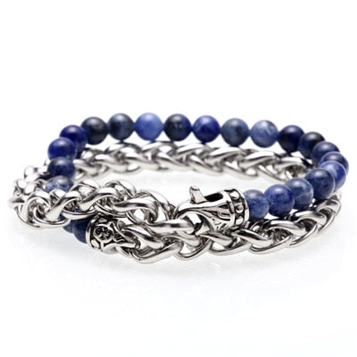 Stainless Steel Link & Natural Midnight Blue Stone Bracelet