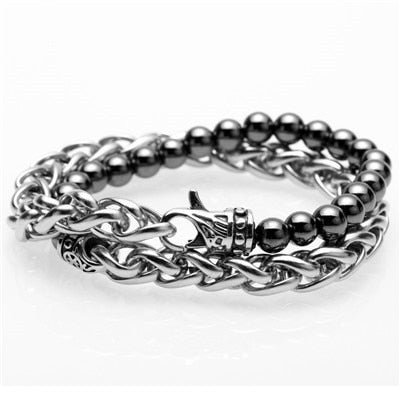 Stainless Steel Link & Natural Titanium Stone Bracelet