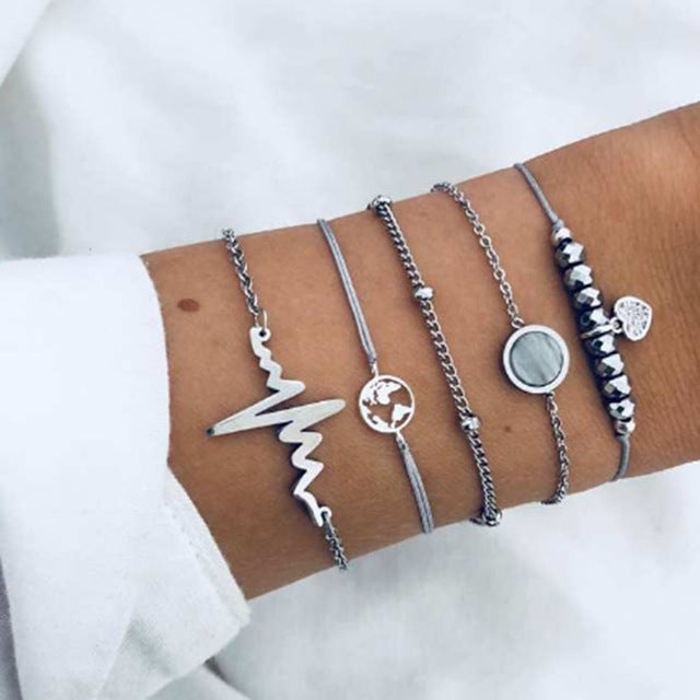 Minimal 5pc Layered Bracelet - Love Travel Health