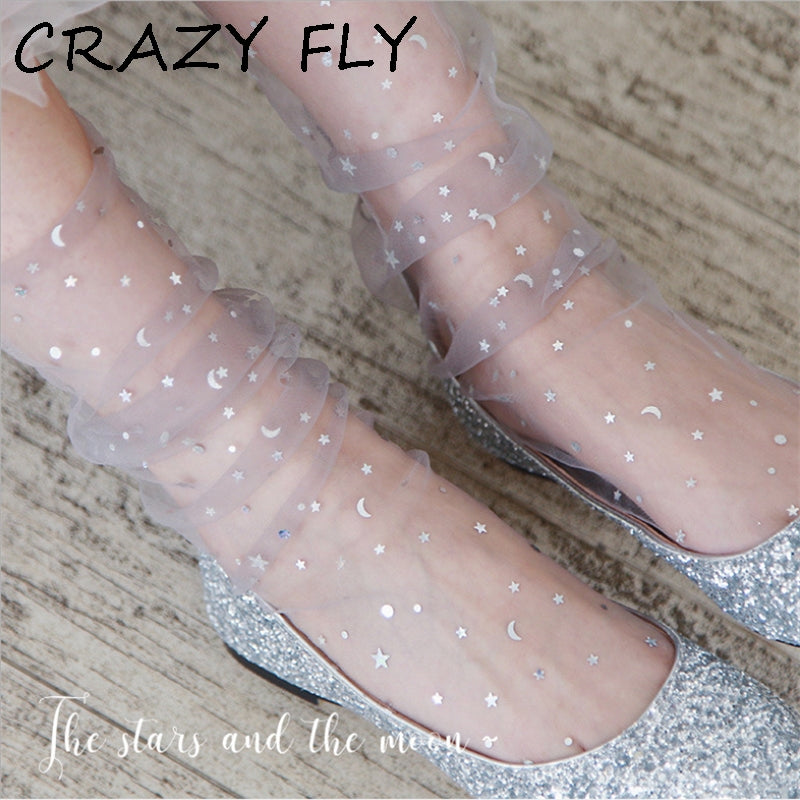 Transparent Tulle Socks -Glitter Stars & Moon