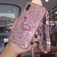Load image into Gallery viewer, Bejeweled Flamingo iPhone Case