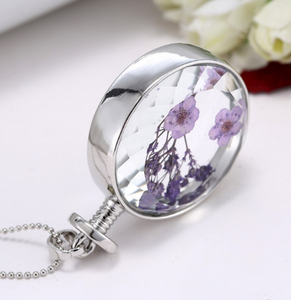 Real Dry Flower Pendant Necklace
