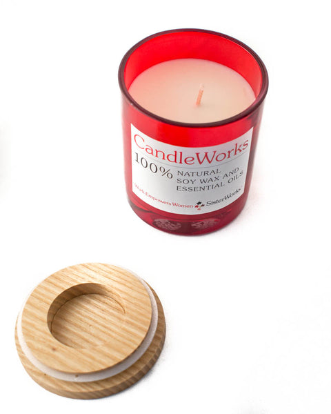 SisterWorks - Natural Soy Candle - Coconut and Lime Scented - Red Jar