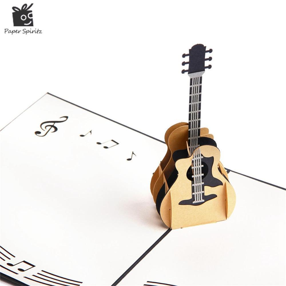 3D Pop Up Laser Cut Vintage Cards Guitar Postcards Happy Birthday Greeting Thank You