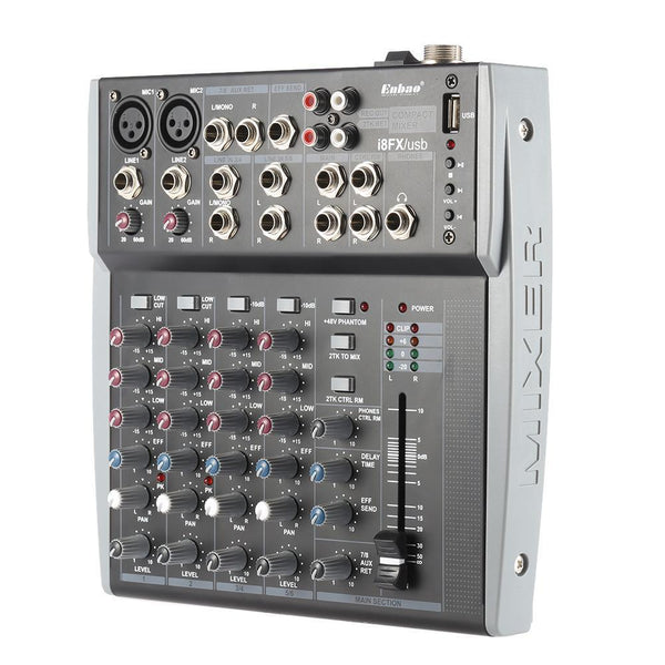 8 Channels 3-Band Eq Audio Music Mixer Mixing Console With Usb Xlr Line Input 48V Phantom Power For Recording Dj Stage Karaoke-DIGDU-DIGDU