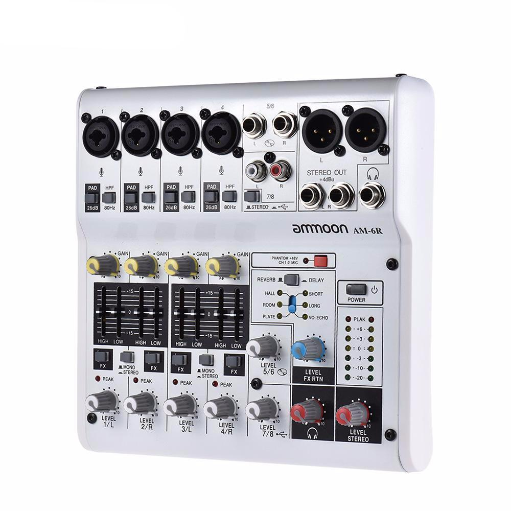 Ammoon Am 6r 8 Channel Mixing Console Sound Card Digital Audio Mixer 3 Built