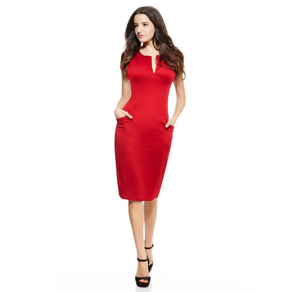 Anself Sexy Fashion Women Pencil Dress - V-Neck-DIGDU-DIGDU