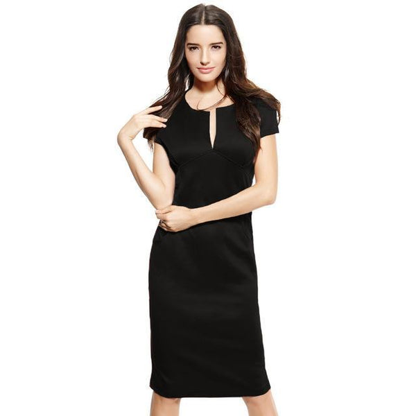 Anself Sexy Fashion Women Pencil Dress - V-Neck-DIGDU-Black-L-DIGDU