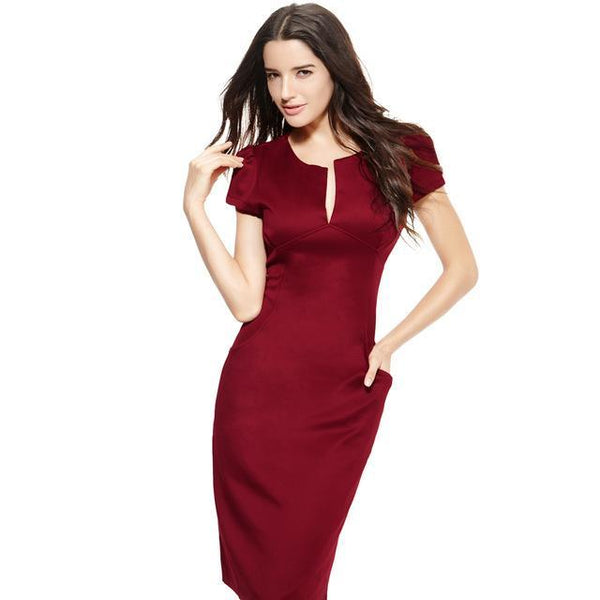 Anself Sexy Fashion Women Pencil Dress - V-Neck-DIGDU-Burgundy-L-DIGDU