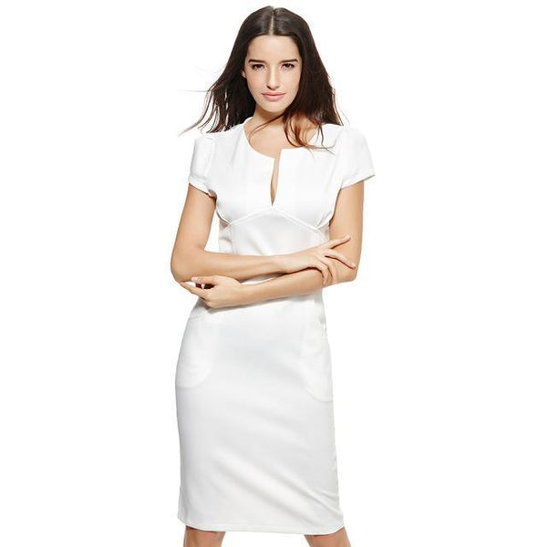 Anself Sexy Fashion Women Pencil Dress - V-Neck-DIGDU-White-L-DIGDU