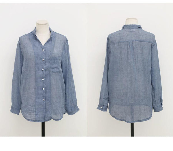 Blusas Chemise - Long Sleeve Shirt Women - Linen Cotton-DIGDU-DIGDU