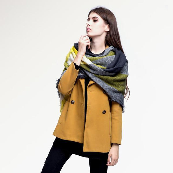 Brand Scarf Women Fashion - Scarves - Top Quality Blankets - Soft Cashmere Winter Scarf Warm - Square Plaid Shawl-DIGDU-01-DIGDU