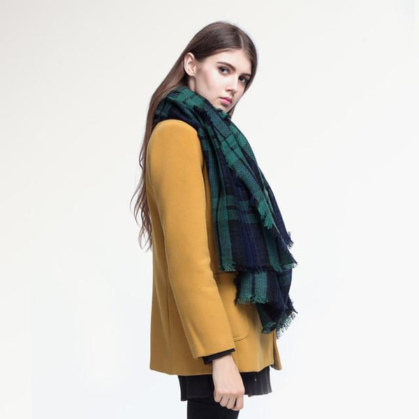 Brand Scarf Women Fashion - Scarves - Top Quality Blankets - Soft Cashmere Winter Scarf Warm - Square Plaid Shawl-DIGDU-02-DIGDU