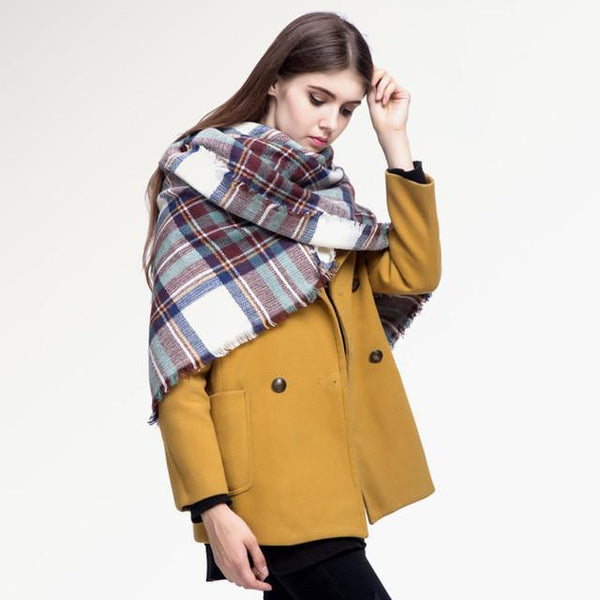 Brand Scarf Women Fashion - Scarves - Top Quality Blankets - Soft Cashmere Winter Scarf Warm - Square Plaid Shawl-DIGDU-06-DIGDU