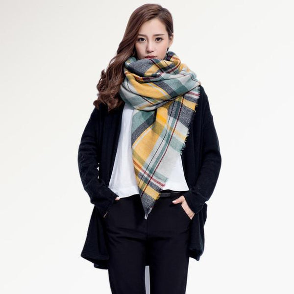 Brand Scarf Women Fashion - Scarves - Top Quality Blankets - Soft Cashmere Winter Scarf Warm - Square Plaid Shawl-DIGDU-07-DIGDU