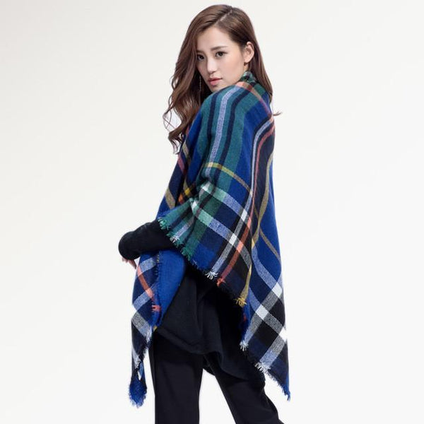 Brand Scarf Women Fashion - Scarves - Top Quality Blankets - Soft Cashmere Winter Scarf Warm - Square Plaid Shawl-DIGDU-08-DIGDU