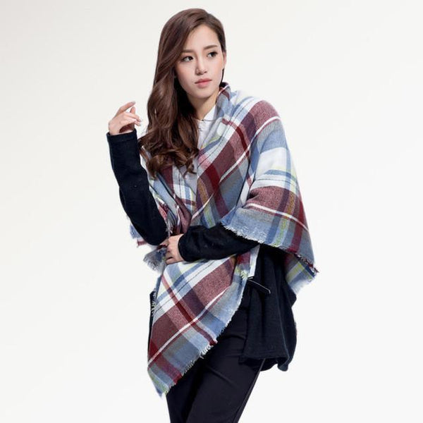 Brand Scarf Women Fashion - Scarves - Top Quality Blankets - Soft Cashmere Winter Scarf Warm - Square Plaid Shawl-DIGDU-09-DIGDU