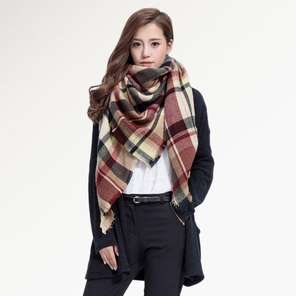 Brand Scarf Women Fashion - Scarves - Top Quality Blankets - Soft Cashmere Winter Scarf Warm - Square Plaid Shawl-DIGDU-10-DIGDU