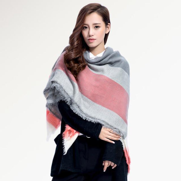 Brand Scarf Women Fashion - Scarves - Top Quality Blankets - Soft Cashmere Winter Scarf Warm - Square Plaid Shawl-DIGDU-11-DIGDU