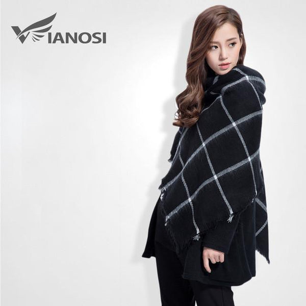 Brand Scarf Women Fashion - Scarves - Top Quality Blankets - Soft Cashmere Winter Scarf Warm - Square Plaid Shawl-DIGDU-12-DIGDU