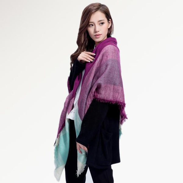 Brand Scarf Women Fashion - Scarves - Top Quality Blankets - Soft Cashmere Winter Scarf Warm - Square Plaid Shawl-DIGDU-13-DIGDU