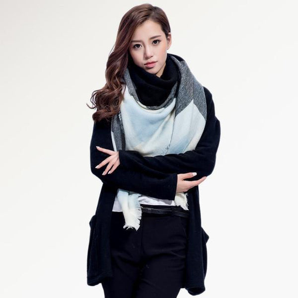 Brand Scarf Women Fashion - Scarves - Top Quality Blankets - Soft Cashmere Winter Scarf Warm - Square Plaid Shawl-DIGDU-14-DIGDU