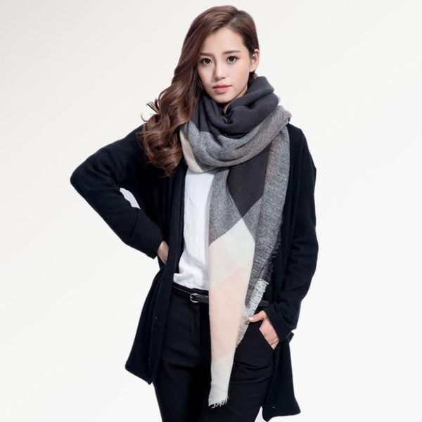 Brand Scarf Women Fashion - Scarves - Top Quality Blankets - Soft Cashmere Winter Scarf Warm - Square Plaid Shawl-DIGDU-15-DIGDU