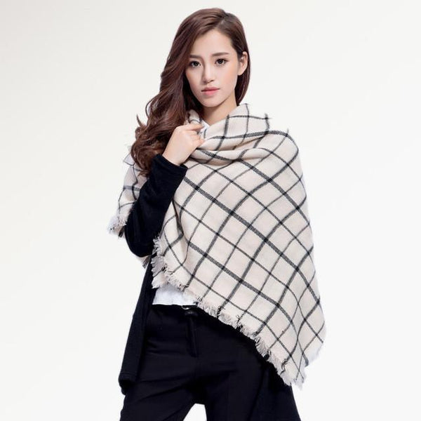 Brand Scarf Women Fashion - Scarves - Top Quality Blankets - Soft Cashmere Winter Scarf Warm - Square Plaid Shawl-DIGDU-16-DIGDU