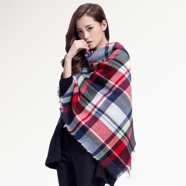 Brand Scarf Women Fashion - Scarves - Top Quality Blankets - Soft Cashmere Winter Scarf Warm - Square Plaid Shawl-DIGDU-17-DIGDU