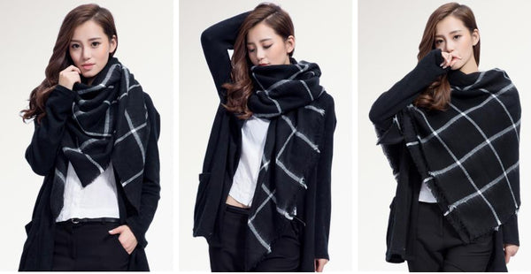 Brand Scarf Women Fashion - Scarves - Top Quality Blankets - Soft Cashmere Winter Scarf Warm - Square Plaid Shawl-DIGDU-DIGDU