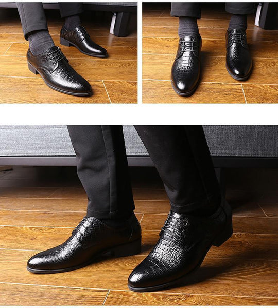 Crocodile Style Men Business Dress Shoes - Wedding Shoes-DIGDU-DIGDU