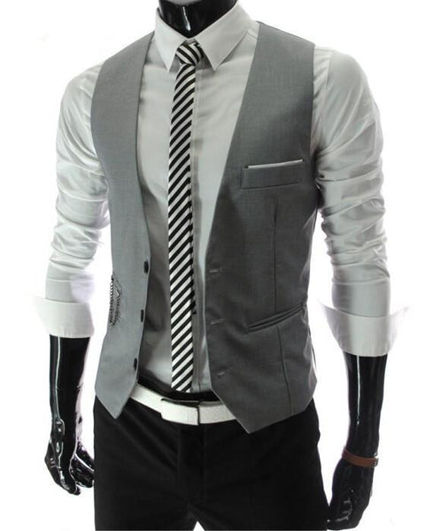 Dress Vests For Men - Slim Fit - Mens Suit Vest Male Waistcoat Gilet Homme - Casual Sleeveless Formal Business Jacket-DIGDU-DIGDU