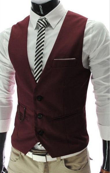 Dress Vests For Men - Slim Fit - Mens Suit Vest Male Waistcoat Gilet Homme - Casual Sleeveless Formal Business Jacket-DIGDU-Burgundy-M-DIGDU
