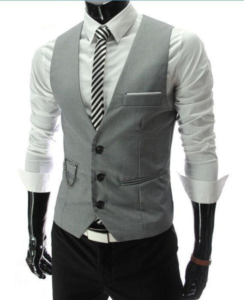 Dress Vests For Men - Slim Fit - Mens Suit Vest Male Waistcoat Gilet Homme - Casual Sleeveless Formal Business Jacket-DIGDU-Grey-M-DIGDU