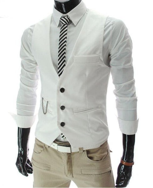 Dress Vests For Men - Slim Fit - Mens Suit Vest Male Waistcoat Gilet Homme - Casual Sleeveless Formal Business Jacket-DIGDU-White-M-DIGDU